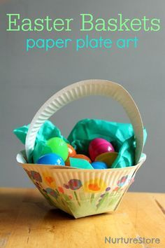 Easter Basket Paper Plate Art | Cute and Easy DIY Paper Baskets By DIY Ready. http://diyready.com/21-diy-easter-basket-ideas-that-will-have-you-hoppin/