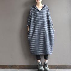 Hooded loose striped dress - Buykud