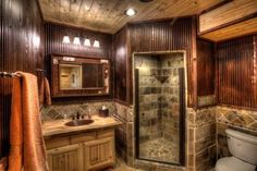 Looking for ideas for our master bath ina log cabin home. It's hard to decorate/remodel since there is somuch brown/wood every where.