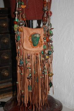 showdiva designs Medicine Bag Belt Necklace Turquiose and STERLING n TONS Fringe n Beads Galore by showdiva on Etsy