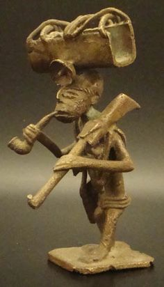 African Male Smoking Pipe #566 | Goldweight Figures | Metal — Deco Art Africa - Decorative African Art - Ethnic Tribal Art - Art Deco