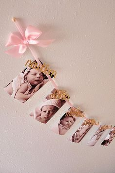 Pink and Gold Birthday Decorations - Monthly Photo Banner Baby Girl 1st Birthday, First Birthday Parties, Birthday Ideas, 1st Birthday Girl Decorations, Pink And Gold Birthday Party, Gold Party, Birthday Pictures, Foto Banner, Pink Und Gold