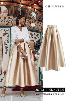 Luxurious Night Bowknot Pleated A-Line Skirt Fashion Mode, Modest Fashion, Unique Fashion, Look Fashion, Hijab Fashion, Fashion Dresses, Womens Fashion, Mode Outfits, Skirt Outfits