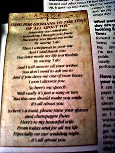 Cutest thing I have ever seen. Tom Fletcher's wedding song to Gi... Look it up on YouTube, I might have cried!