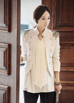 Cool Style Stand Neck Shoulder Decoration Long Sleeves Double Breasted Cotton Blend Blazer For Women (WHITE,L) China Wholesale - Sammydress.com