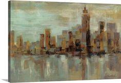 Silvia Vassileva Premium Thick-Wrap Canvas Wall Art Print entitled Misty Day in Manhattan, None