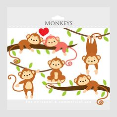 Monkey clipart  whimsical monkeys clip art by WinchesterLambourne, $3.40