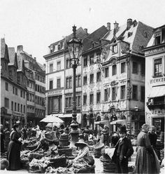 Mainzer Marktplatz um 1903. Mainz Germany, Wonderful Places, Street View, History, City, Memories, Karlsruhe, Germany, Photo Illustration