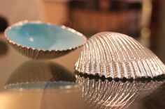 seashell crafts | Seashell Crafts / Silver and Blue Painted Seashells.