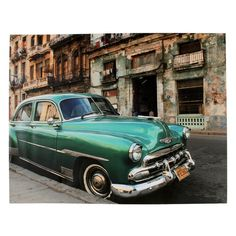 Startonight Mural Wall Art Photo Decor Green Old Car in Havana Amazing Dual View Surprise Large inch By inch Wall Mural Wallpaper for Living or Bedroom Wall Art Pictures, Car Pictures, Cuban Cars, Value Furniture, Furniture Village, Mural Wall Art, Kare Design, Old Cars, Vintage Cars