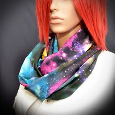 Colorful infinity scarf with galaxy print by Pixiesdance on Etsy, $25.00