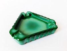 Vintage Czechoslovakia Malachite Glass Ashtray, green fine made ashtray,bowl