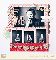 Kelly Noel-scrap page with 4 photos #paperscrap #scrap #layout #scrapbooking