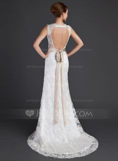 A-Line/Princess V-neck Court Train Charmeuse Lace Wedding Dress With Sash Beading Bow(s) (002000171) - JJsHouse