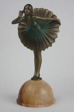 """❤ - A stylish Art Deco spelter figure by Dakon,  c1927 """"Wiener Walzer""""-"""