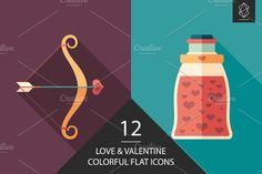 Love and Valentine flat icon set. #love #loveillustration #flaticons #vectoricons #flatdesign