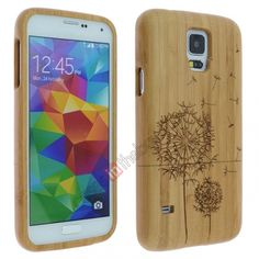 Dandelion flower Real Natural Bamboo Hard Cover Case for Samsung Galaxy S5 US$19.69