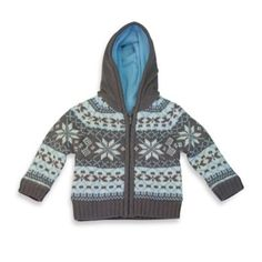 Wippette Hooded Snowflake Sweater in Blue/Grey - buybuyBaby.com