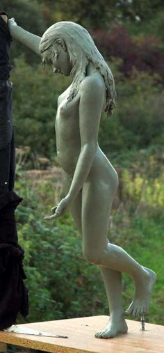 Bronze Garden Or Yard / Outside and Outdoor sculpture by sculptor Robert Mileham titled: 'Anne of Buckinghamshire (nude Young Girl Thinking sculptures/statues)' - Artwork View 2