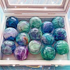 crystal jewelry New Mini Fluorite spheres just added to our shop. These are great companions to keep around for anyone feeling disorganized. Crystal Healing Stones, Crystal Magic, Stones And Crystals, Quartz Crystal, Minerals And Gemstones, Crystals Minerals, Rocks And Minerals, Crystal Aesthetic, Crystal Decor