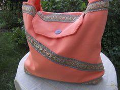Orange textile bag with gold trim, polyester, unique, handmade by himmeldurchnadeloehr