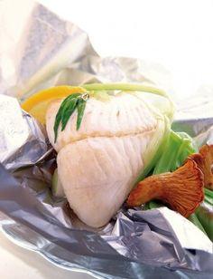 Recette de papillote de coeurs de filets de merlu blanc Pescanova aux girolles