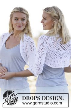 "Kamelia - DROPS square knitted bolero with lace pattern in ""Safran"". Size: S - XXXL. - Free pattern by DROPS Design"