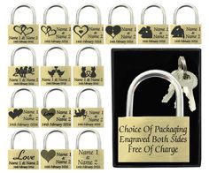#Valentines gift / present 40mm love lock #personalised #engraved padlock bold te,  View more on the LINK: 	http://www.zeppy.io/product/gb/2/262228697123/