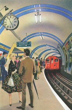 The Story of Railways: The London Underground. Author: Richard Bowood Illustrator: Robert Ayton 100 Years of Ladybird Books. Ladybird Books, Gravure Illustration, Children's Book Illustration, Book Illustrations, London Underground, Vintage Travel Posters, Vintage Ads, Vintage London, Railway Posters