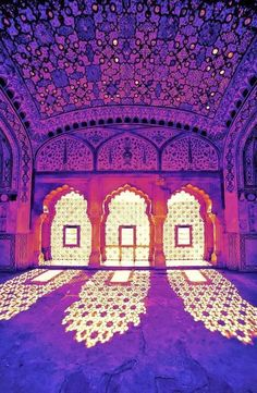 Such a different perspective of colors. Amber Palace, Rajasthan, India.