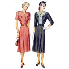 1940s Scalloped Front Yoke Dress Pattern - Bust 42, Gored Skirt, Short or Three-quarter Sleeves - Vintage Sewing Pattern - Simplicity 2104 di PatternAndStitch su Etsy https://www.etsy.com/it/listing/162054549/1940s-scalloped-front-yoke-dress-pattern