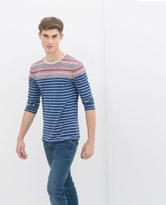 bbc31df301 Image 1 of JACQUARD T-SHIRT WITH 3 4 SLEEVES from Zara idr 299.900