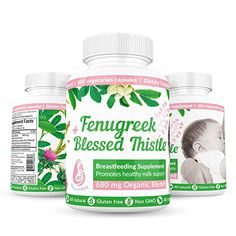 Fenugreek Seed Extract & Blessed Thistle Lactation Supplement By Breast & Baby – All Natural, Non GMO, Gluten Free Breast Milk Production Organic 680mg Potent Herbal Blend, 100 capsules