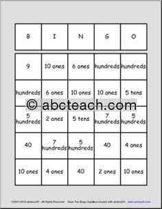 This do it yourself bingo game includes a blank bingo card and 144 base ten bingo place value solutioingenieria Images