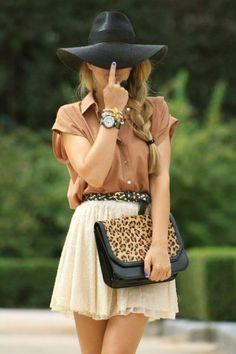 lace mini skirt with leopard handbag