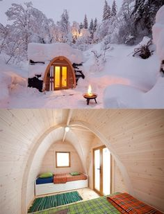 Cabin in the snow.