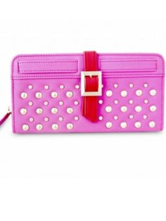 Stunning studded wallet in pink exterior and bright red interior. Multiple slots for cards and zipper pockets. In-Stock & ready to ship!