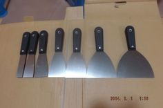 "high quality wholesale carbon steel plastic 7pcs 1"",1.5"",2"",2.5""3"",4"",5"" SCRAPER/PUTTY KNIFE SET tool NO.SR-01 freeship"