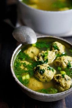 Arabic Meatball Soup with Spinach, Mint and Lime  - leave out the oil and this would be Phase 2