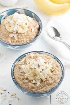 Banana Coconut Crunch Steel Cut Oatmeal - start your day with a big bowl of hearty goodness!