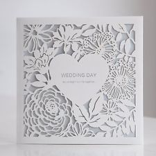 Personalized Laser Cutting White Flowers Wedding Invitations Cards Seals BH4520