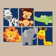 Safari jungle animals wall art jungle safari animals decor b Baby Boy Nursery Decor, Safari Nursery, Animal Nursery, Nursery Prints, Baby Boy Nurseries, Woodland Nursery, Baby Wall Art, Art Wall Kids, Nursery Wall Art