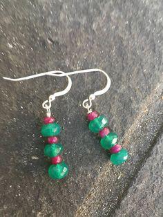 Ruby and Green Onyx Stacked Dangle Earrings.  Boho jewelry  Genuine Ruby Sundance Style  Christmas stack Earrings  product id: RGO1017