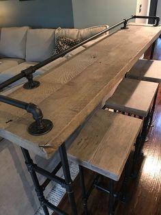 Rustic Gray Reclaimed Barn Wood Sofa Bar Table - - Restaurant Counter Co. Rustic Gray Reclaimed Barn Wood Sofa Bar Table – – Restaurant Counter Community Cafe Co Sofa Bar, Couch Table, Restaurant Counter, Rustic Sofa, Industrial Sofa Table, Rustic Table, Diy Wood Table, Wood Pallet Tables, Rustic Art