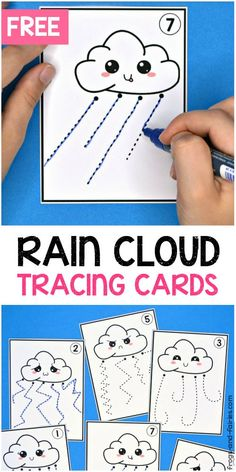 These FREE Rain Cloud Pre-Writing Tracing Cards will help your kids develop their pre-writing and fine motor skills! Preschool Writing, Kindergarten Learning, Preschool Learning Activities, Toddler Activities, Toddler Learning, Teaching, Sensory Activities, Fine Motor Activities For Kids, Motor Skills Activities