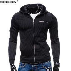 USRUER-YEEZY 2017 New Arrived Black Mens hoodies Zipper Top Male Casual Hooded Full Sleeve Casual Sweatshirts Men brand-clothing