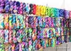 Hanks of hand dyed wool yarn from Truely Hooked at Wonderwool Wales 2016. #Britishyarn #Britishwool