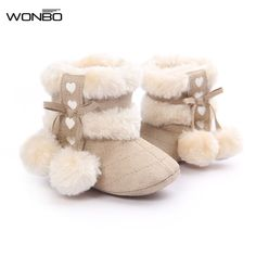 61283107fe0e3 Infant Toddler Kids Girls Warm Winter Snow Shoes Baby Walker Crib Boots  0-18M -