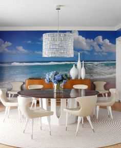 The horizon, the ocean, clounds and waves, everything you need to enjoy a calming and refreshing dinner with your loved one in the confort of your classy home ! www.fototapet.ro #design#designer#interior#housing#architecture#wallpaper#colours#hint#materials#texturing#decor#decration#colourterapy#paper#latex#wall#design#art#perspective#glass#transparency#waves#ocean#clouds#sand#depth