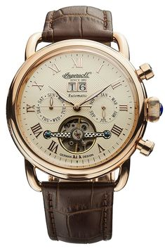 Ingersoll Unisex Automatic Watch with Beige Dial Analogue Display and Brown Leather Strap IN1810CR: Amazon.co.uk: Watches